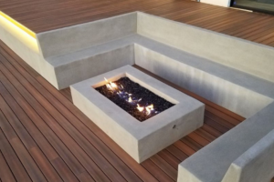 Luxury outdoor fire place with poured in place concrete seating