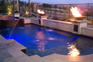 """Fire & Ice"" - Pool with water and fire features"