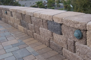 Hardscape wall and pavers